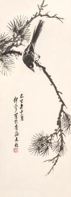 傅寿宜 松雀图